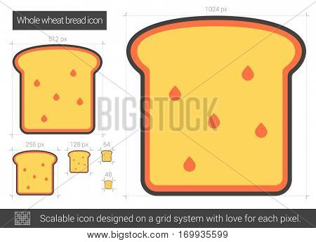 Whole wheat bread vector line icon isolated on white background. Whole wheat bread line icon for infographic, website or app. Scalable icon designed on a grid system.