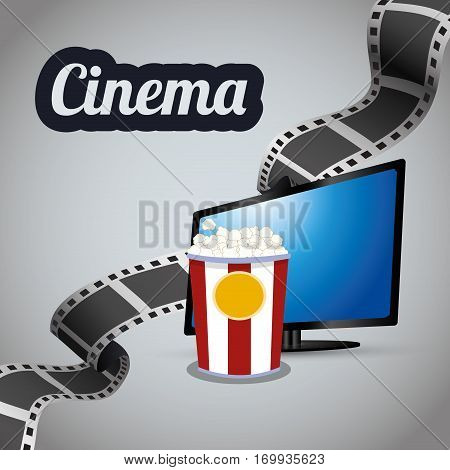 cinema tv lcd strip film with bucket pop corn vector illustration eps 10