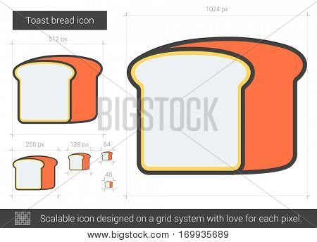 Toast bread vector line icon isolated on white background. Toast bread line icon for infographic, website or app. Scalable icon designed on a grid system.