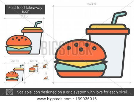 Fast food takeaway vector line icon isolated on white background. Fast food takeaway line icon for infographic, website or app. Scalable icon designed on a grid system.