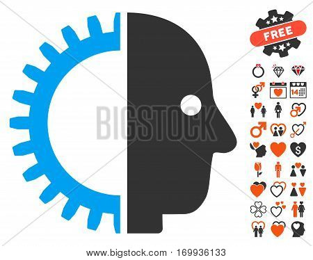 Cyborg Head icon with bonus dating clip art. Vector illustration style is flat iconic symbols for web design app user interfaces.