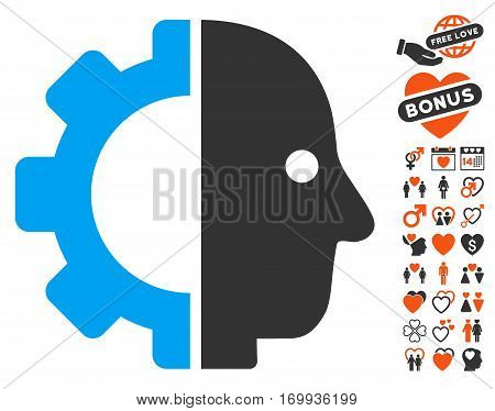 Cyborg Head icon with bonus love clip art. Vector illustration style is flat iconic elements for web design app user interfaces.