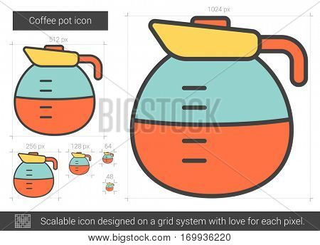 Coffee pot vector line icon isolated on white background. Coffee pot line icon for infographic, website or app. Scalable icon designed on a grid system.