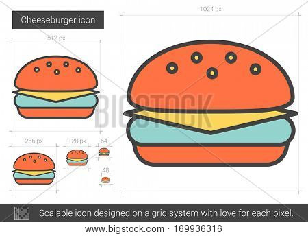 Cheeseburger vector line icon isolated on white background. Cheeseburger line icon for infographic, website or app. Scalable icon designed on a grid system.