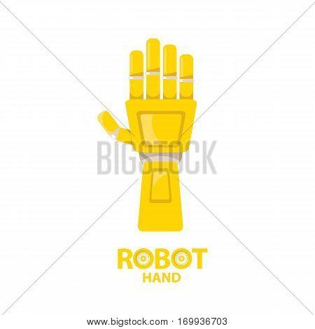 vector robotic arm symbol. robot hand. technology background design template.