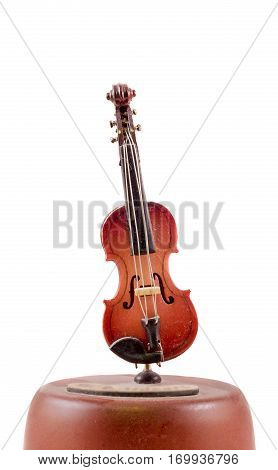 Musical box violin close up isolated on white background