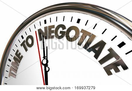 Time to Negotiate Reach Agreement Clock 3d Animation