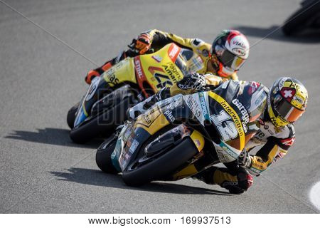 VALENCIA, SPAIN - NOV 13: 12 Luthi, 40 Rins in Moto2 Race during Motogp Grand Prix of the Comunidad Valencia on November 13, 2016 in Valencia, Spain.