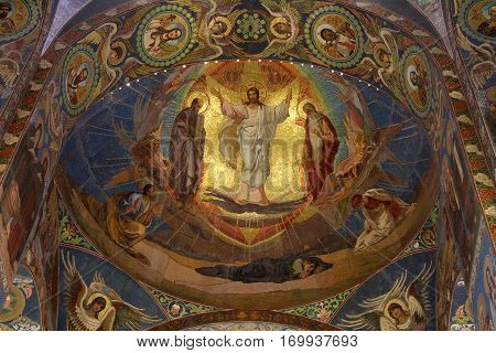 SAINT-PETERSBURG RUSSIA - JANUARY 05 2017: Mosaic picture on the wall of the Church of the Savior on Blood in Saint-Petersburg.