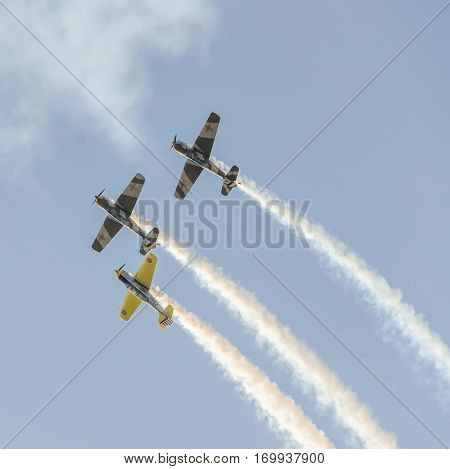 Bucharest, Romania - October 4, 2014: Aerobatic Airplane Pilots Training In The Sky Of The City. Col