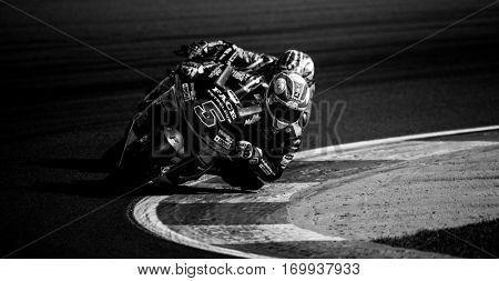 VALENCIA, SPAIN - NOV 13: Johann Zarco in Moto2 Race during Motogp Grand Prix of the Comunidad Valencia on November 13, 2016 in Valencia, Spain.