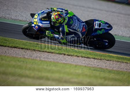 VALENCIA, SPAIN - NOV 13: Valentino Rossi during Motogp Grand Prix of the Comunidad Valencia on November 13, 2016 in Valencia, Spain.