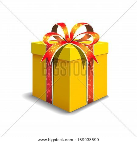 Festive gift box yellow color. Tied with orange ribbon with stars with a bow on top.