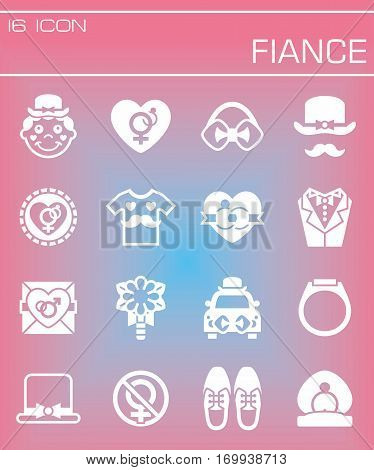 Vector Fiance icon set on rose background