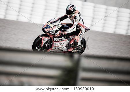 VALENCIA, SPAIN - NOV 13: Lorenzo Baldassarri in Moto2 warm up during Motogp Grand Prix of the Comunidad Valencia on November 13, 2016 in Valencia, Spain.