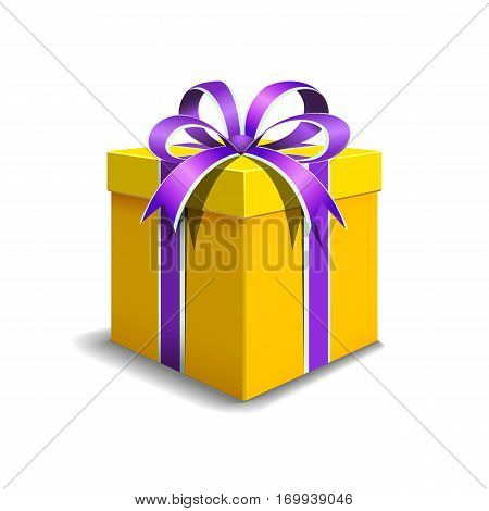 Festive gift box yellow color. Tied with purple ribbon with a bow on top.