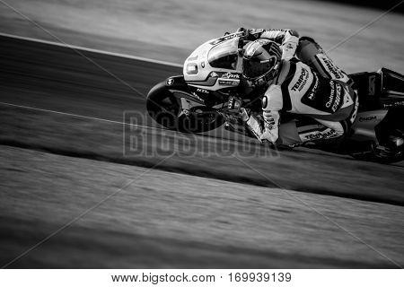 VALENCIA, SPAIN - NOV 13: Luca Marini in Moto2 warm up during Motogp Grand Prix of the Comunidad Valencia on November 13, 2016 in Valencia, Spain.
