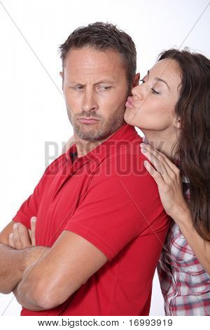 Couple in a bad mood on white background