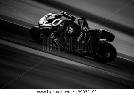 VALENCIA, SPAIN - NOV 13: Isaac Vinales in Moto2 warm up during Motogp Grand Prix of the Comunidad Valencia on November 13, 2016 in Valencia, Spain.