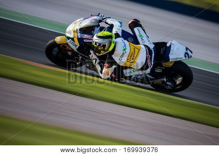 VALENCIA, SPAIN - NOV 13: Iker Lecuona in Moto2 warm up during Motogp Grand Prix of the Comunidad Valencia on November 13, 2016 in Valencia, Spain.