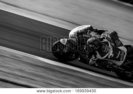 VALENCIA, SPAIN - NOV 13: Alex Marquez in Moto2 warm up during Motogp Grand Prix of the Comunidad Valencia on November 13, 2016 in Valencia, Spain.