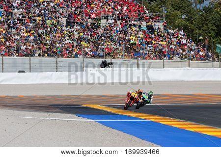 VALENCIA, SPAIN - NOV 13: 10 Marini, 70 Mulhauser in Moto2 Race during Motogp Grand Prix of the Comunidad Valencia on November 13, 2016 in Valencia, Spain.