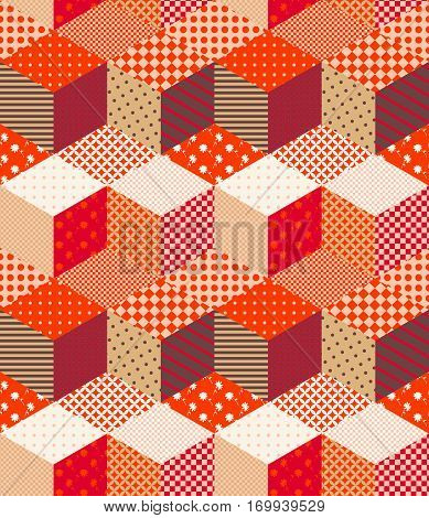 Patchwork in warm autumn colors. Bright colorful zigzag seamless pattern. Multicolor vector illustration.