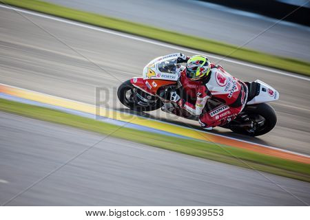 VALENCIA, SPAIN - NOV 13: Ratthapark Wilairot in Moto2 warm up during Motogp Grand Prix of the Comunidad Valencia on November 13, 2016 in Valencia, Spain.