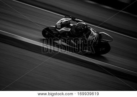 VALENCIA, SPAIN - NOV 13: Xavier Simeon in Moto2 warm up during Motogp Grand Prix of the Comunidad Valencia on November 13, 2016 in Valencia, Spain.