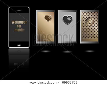 Wallpaper for mobile. Collection of Technology Wallpaper Designs. Set of Mobile Phones with hearts and gears wallpaper.