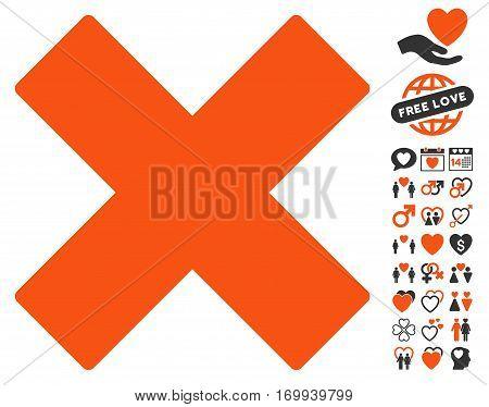 Delete icon with bonus love icon set. Vector illustration style is flat iconic symbols for web design app user interfaces.