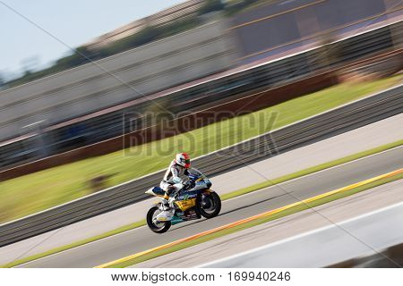 VALENCIA, SPAIN - NOV 13: Iker Lecuona in Moto2 Race during Motogp Grand Prix of the Comunidad Valencia on November 13, 2016 in Valencia, Spain.