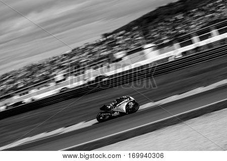 VALENCIA, SPAIN - NOV 13: Jonas Folger in Moto2 Race during Motogp Grand Prix of the Comunidad Valencia on November 13, 2016 in Valencia, Spain.