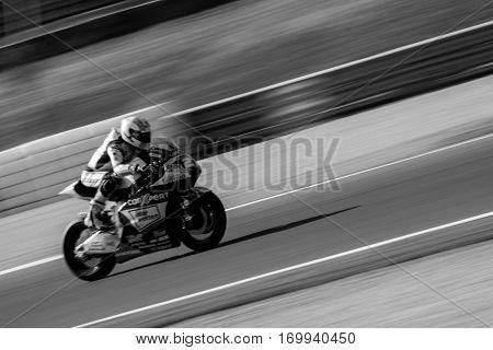 VALENCIA, SPAIN - NOV 13: Lecuona in Moto2 Race during Motogp Grand Prix of the Comunidad Valencia on November 13, 2016 in Valencia, Spain.