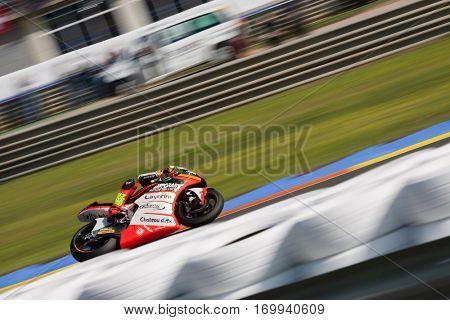 VALENCIA, SPAIN - NOV 13: Moto2 Race during Motogp Grand Prix of the Comunidad Valencia on November 13, 2016 in Valencia, Spain.