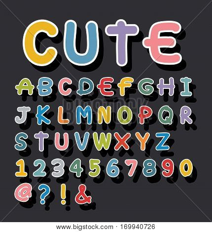 alphabet cute drawn vector, color, text, textured, isolated, spell, sweet,