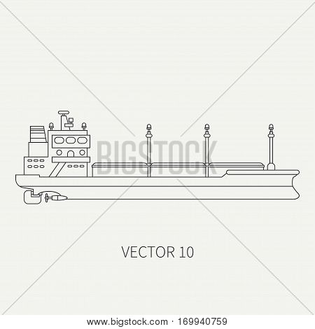 Line flat vector retro icon container cargo ship. Merchant fleet. Cartoon vintage style. Ocean. Sea. Port. Barge. Comercial. Transportation. Captain. Sail. Simple Illustration and element for design