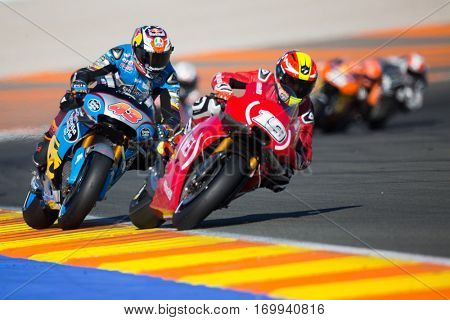 VALENCIA, SPAIN - NOV 13: 43 Miller, 19 Bautista during Motogp Grand Prix of the Comunidad Valencia on November 13, 2016 in Valencia, Spain.
