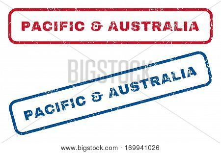 Pacific and Australia text rubber seal stamp watermarks. Vector style is blue and red ink caption inside rounded rectangular shape. Grunge design and dirty texture. Blue and red signs.