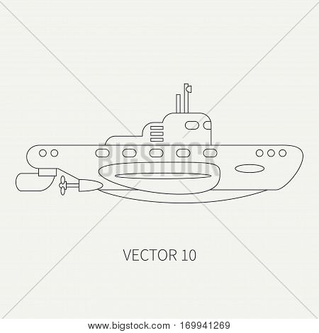 Line flat vector retro icon naval diese submarine. Dreadnought warship. Cartoon vintage style. War. Navy. Ocean. Sea. Torpedo. Armor. Squadron. Captain. Simple Illustration and element for design