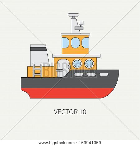 Line flat vector color icon comercial tugboat. Merchant fleet. Cartoon vintage style. Ocean. Sea. Barge. Tow. Port. Cargo. Transportation. Captain. Sail Simple Illustration element for your design