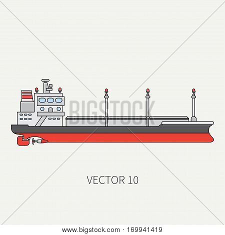 Line flat vector color icon container cargo ship. Merchant fleet. Cartoon vintage style. Ocean. Sea. Port. Barge. Comercial. Transportation. Captain. Sail. Simple Illustration and element for design