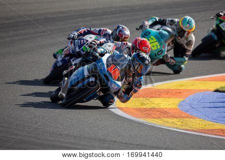 VALENCIA, SPAIN - NOV 13: Moto3 race during Motogp Grand Prix of the Comunidad Valencia on November 13, 2016 in Valencia, Spain.