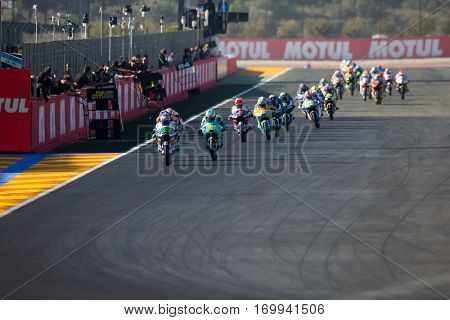 VALENCIA, SPAIN - NOV 13: Moto3 race during Motogp Grand Prix of the Comunidad Valencia on November 13, 2016 in Valencia, Spain.