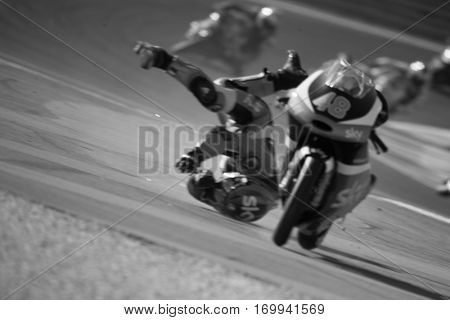 VALENCIA, SPAIN - NOV 13: Dalla Porta crush in Moto3 race during Motogp Grand Prix of the Comunidad Valencia on November 13, 2016 in Valencia, Spain.
