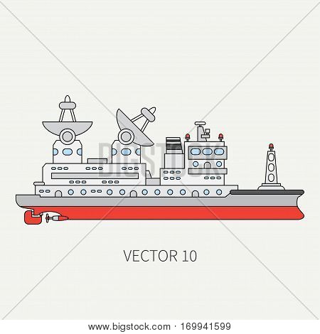 Line flat vector color icon scientific ship. Research fleet. Cartoon style. Sonar. Telemetry. Ocean. Industrial. Captain. Reconnaissance mineral resources. Illustration and element for your design.