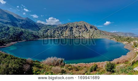 The lake of Kournas village in Chania Crete Greece