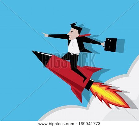 businessman and rocket concept Illustration vector simple, illustration, icon, advance, analogy, avatar, accelerate, metaphor, progress, higher,