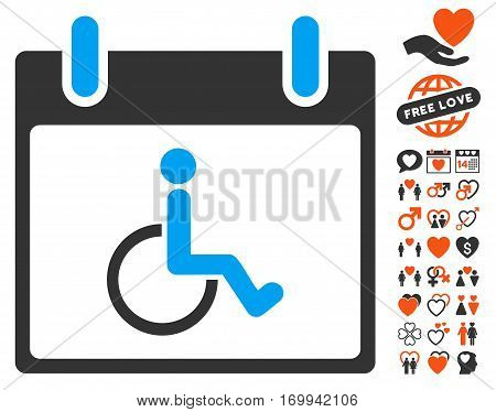 Disabled Person Calendar Day pictograph with bonus marriage design elements. Vector illustration style is flat iconic elements for web design app user interfaces.
