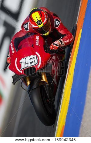 VALENCIA, SPAIN - NOV 12: Alvaro Bautista during Motogp Grand Prix of the Comunidad Valencia on November 12, 2016 in Valencia, Spain.